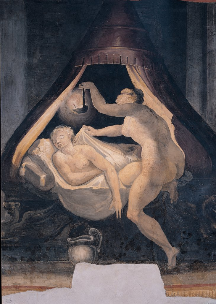 Stock Photo: 1899-45068 Psyche Holding the Lamp and Looking at Sleeping Cupid, by Anonymous artist, 1550, 16th Century, fresco. Italy: Lazio: Rome: Palazzo Spada: Stanza di Amore e Psiche. Whole artwork. Cupid god Love sleeping sleep bed pallet canopy sheet pillow woman maid Psyche lantern dim light black night darkness floor vase