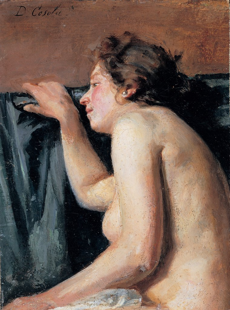 Stock Photo: 1899-45104 Little Nude, by Cosola Demetrio, 1870 - 1895, 19th Century, oil on panel. Private collection. All nude woman hip arranged hair earring couch/sofa gray brown