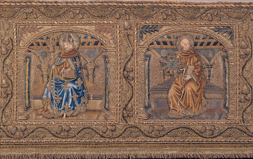 Stock Photo: 1899-45144 Frontal of Pope Sixtus IV, by Florence workmanship, 1476 - 1478, 15th Century, velvet, thread made of boucle gold, knotted and embroidered. Italy: Umbria: Perugia: Assisi: Treasury Museum of San Francesco Basilica. Frontal of Pope Sixtus IV based on design by Pollaiolo and Francesco Botticini. Front brown light blue/azure mantle/cloak friar habit/tunic miter crosier monk