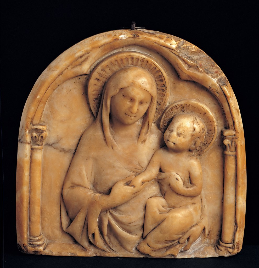 Stock Photo: 1899-45148 Madonna and Child, by perhaps by Sienese anonymous artist, 1325 - 1350, 14th Century, marble. Italy: Umbria: Perugia: Assisi: Treasury Museum of San Francesco Basilica: Collezione Perkins. Whole artwork. Madonna and Child halo/aureole Maria Jesus column