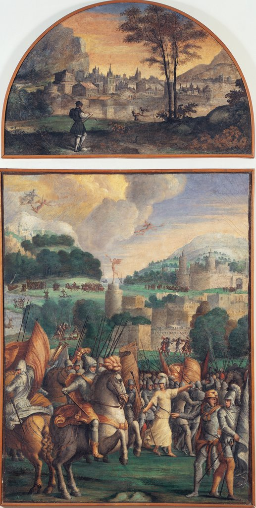 Boiardo writes his Poem and Stories of the Aeneid of Turnus and his Allies, by Dell'Abate Niccolo, 16th Century, fresco transferred to canvas probably. Italy: Emilia Romagna: Modena: Estense Gallery. Whole artwork. Lunette Boiardo writing poem horses city battle soldiers : Stock Photo