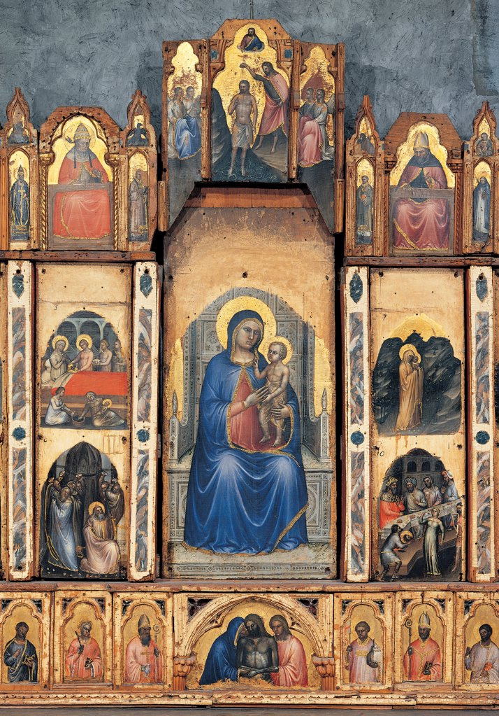 Stock Photo: 1899-45174 Polyptych, by Giusto de' Menabuoi Giusto Padovano, 1360 - 1362, 14th Century, tempera on panel. Italy: Veneto: Padua: Baptistery. Detail. Central side polyptich Madonna/Virgin Mary with Child enthroned predella Pieta saints cymatium moulding Christ's Baptism and saints bishops episodes of Christ's life