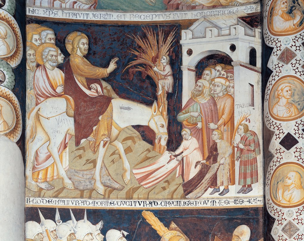 Stock Photo: 1899-45203 Stories from the Life of Christ, by Master of Sant'Abbondio, 1300 - 1325, 14th Century, fresco. Italy: Lombardy: Como: Sant'Abbondio Church. Panel Christ entering into Jerusalem frame donkey door town palm blessing gesture red mantle/cloak dress/garment yellow blue halo/aureole