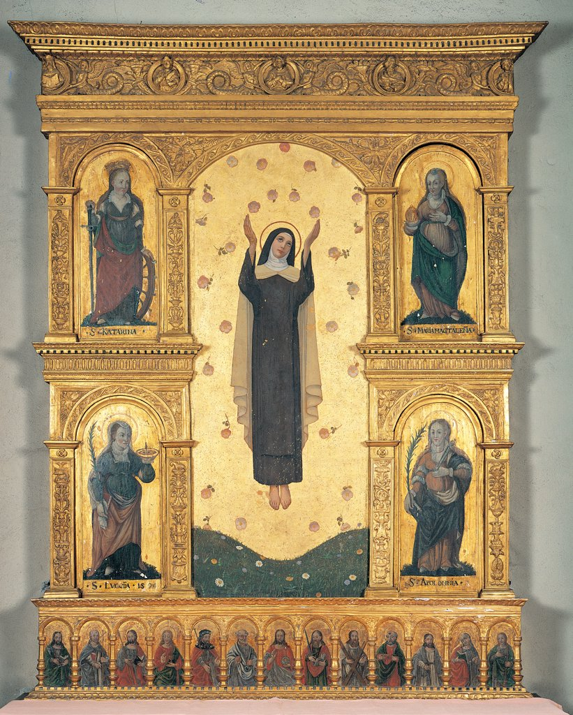 Stock Photo: 1899-45213 Polyptych, by Unknown artist, 15th Century, wood carved and gilded. Italy: Lombardy: Como: Varenna. Whole artwork. Polyptych saint tunic/habit halo/aureole saints roses gold background