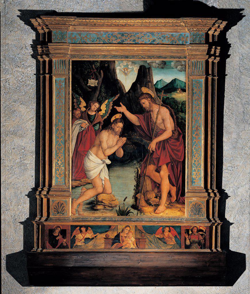 Baptism of Jesus, by De Magistris Sigismondo, 16th Century, panel. Italy: Lombardy: Como: Varenna: San Giorgio Parish church. All baptism Jesus Christ frame/cornice John the Baptist predella : Stock Photo