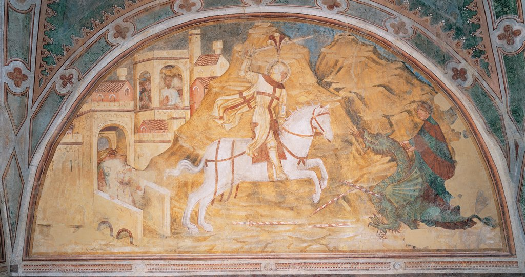 Stock Photo: 1899-45233 St George Killing the Dragon, by Master of Velo d'Astico, perhaps by Luca da Vicenza, 15th Century, fresco. Italy: Veneto: Vicenza: Velo d'Astico: San Giorgio church. Whole artwork. Lunette square horse saint St George dragon rocky landscape castle