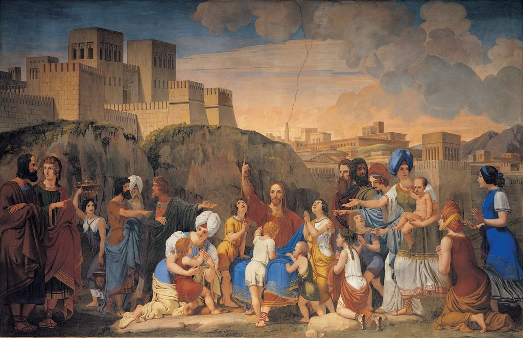 Sinite Parvulos (Let the Little Ones), by Demin Giovanni, 1851, 19th Century, fresco. Italy: Veneto: Belluno: Agordo. Whole artwork. Jesus Christ speaking talking children woman city fortress Apostles blue : Stock Photo