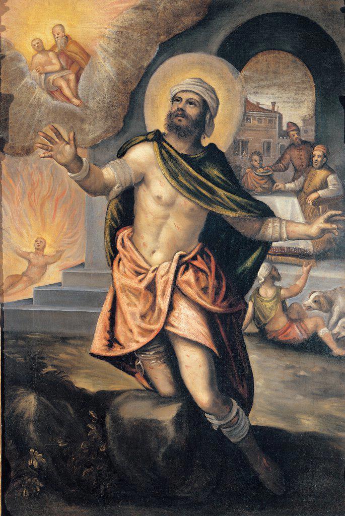 Stock Photo: 1899-45236 St Lazarus and the Rich Epulon, by Robusti Domenico, 17th Century, oil on canvas. Italy: Veneto: Belluno: Vigo di Cadore: Sant'Orsola church. Saint St Lazarus the rich Epulon fire dog
