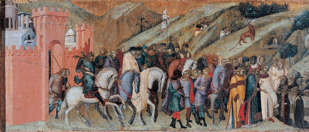 Stock Photo: 1899-45237 Carmine Altarpiece, by Lorenzetti Pietro, 1329, 14th Century, tempera on panel transferred to canvas. Italy: Tuscany: Siena: National Gallery of Art. Panel of the predella Carmine altarpiece St Albert Siculus patriarch of Jerusalem handing the Carmelite Rule to St Brocard
