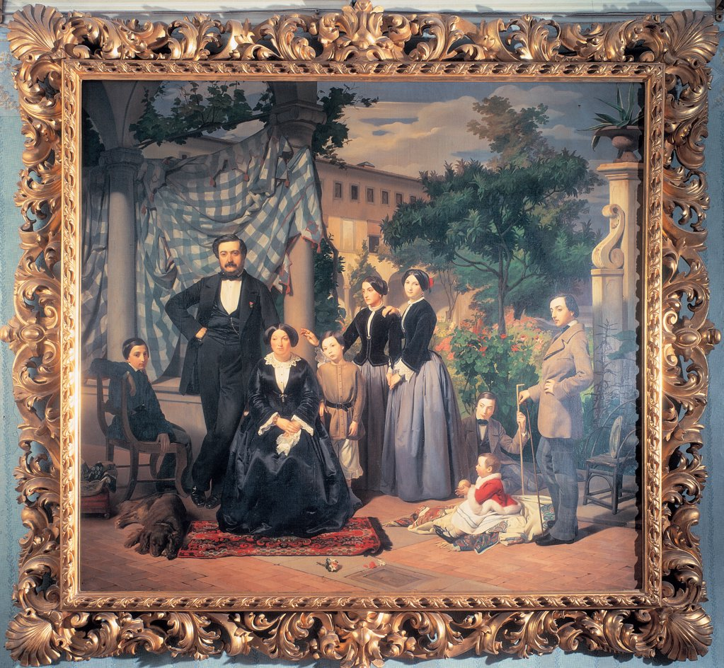 Portrait of the Bianchini Family, by Ciseri Antonio, 1855, 19th Century, canvas. Private collection. Whole artwork. Frame portrait of Bianchini family garden villa columns cloth/drape carpet dog father mother man woman children boy girl tree : Stock Photo