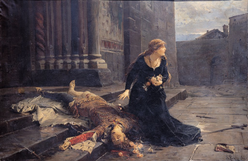 Stock Photo: 1899-45256 The Death of Giovanni Maria Visconti (1412), by Pogliaghi Ludovico, 1889, 19th Century, oil on canvas. Italy: Lombardy: Milan: Brera Art Gallery: in deposito dall' Accademia di Belle Arti di Brera. Whole artwork. Giovanni Maria Visconti corpse killed dagger sword woman flowers roses petals shield/cuirass terror churchyard Milan San Gottardo church