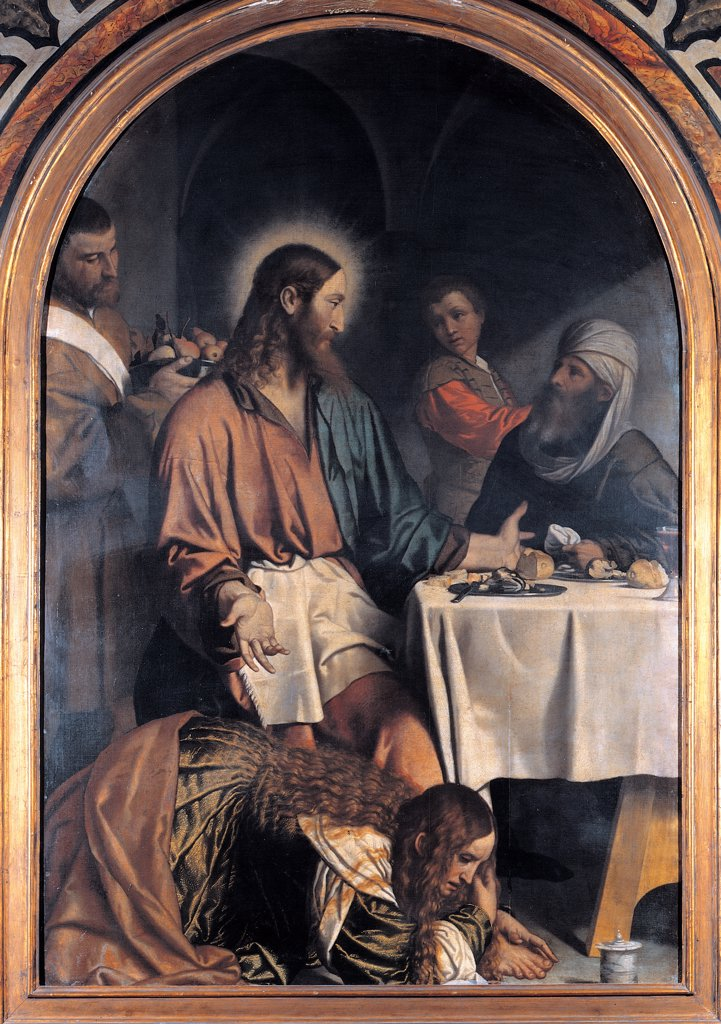 Stock Photo: 1899-45268 Supper in the House of the Pharisee, by Bonvicino Alessandro known as Moretto da Brescia, 16th Century, oil on canvas. Italy: Lombardy: Brescia: Santa Maria in Calchera church. All Jesus Christ light aureole/halo table banquet plates/dishes bread food men boy servant fruits Simon Magdalene long hair little jar unguent/ointment vault