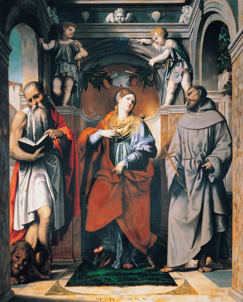 Stock Photo: 1899-45269 St Margaret of Antioch with Sts Jerome and Francis, by Bonvicino Alessandro known as Moretto da Brescia, 1530, 16th Century, oil on panel. Italy: Lombardy: Brescia: San Francesco church. Whole artwork. St Margaret of Antioch saints St Jerome St Francis putti children floor book lion Franciscan habit/tunic apse arch rug
