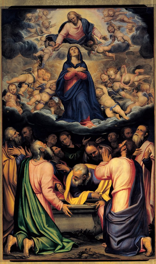 The Assumption of the Virgin, by Bonvicino Alessandro known as Moretto da Brescia, 16th Century, oil on canvas. Italy: Lombardy: Brescia: Old Cathedraly. All Jesus Christ Virgin Assumption angels Apostles/Disciples yellow green blue cloud : Stock Photo