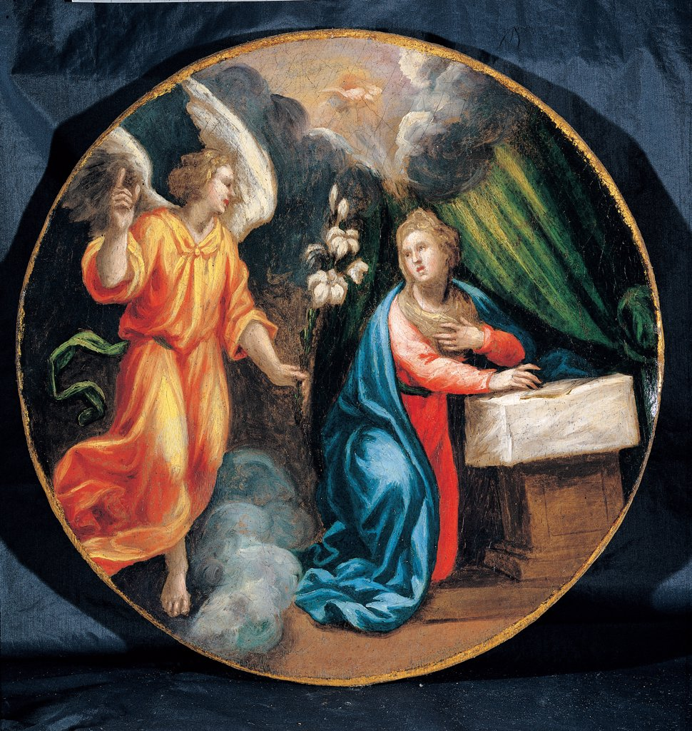 Stock Photo: 1899-45272 Mysteries of the Rosary, by Campi Vincenzo, 16th Century, oil on canvas. Italy: Emilia Romagna: Parma: Busseto: San Bartolomeo Collegiate Church. Whole artwork. Tondo Annunciation Archangel Gabriel lily Virgin Mary Madonna receiving the news of the Virgin Birth red yellow