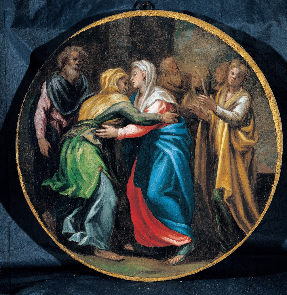 Mysteries of the Rosary, by Campi Vincenzo, 16th Century, oil on canvas. Italy: Emilia Romagna: Parma: Busseto: San Bartolomeo Collegiate Church. Whole artwork. Tondo Visitation Virgin Mary Elizabeth red yellow blue green : Stock Photo