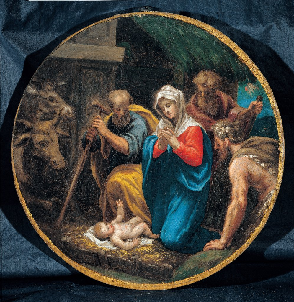Mysteries of the Rosary, by Campi Vincenzo, 16th Century, oil on canvas. Italy: Emilia Romagna: Parma: Busseto: San Bartolomeo Collegiate Church. Whole artwork. Tondo Nativity Holy Family St Joseph Virgin Mary Madonna Child Jesus/Baby Jesus/Christ Child ass donkey ox shepherds stick staff straw night yellow blue red : Stock Photo