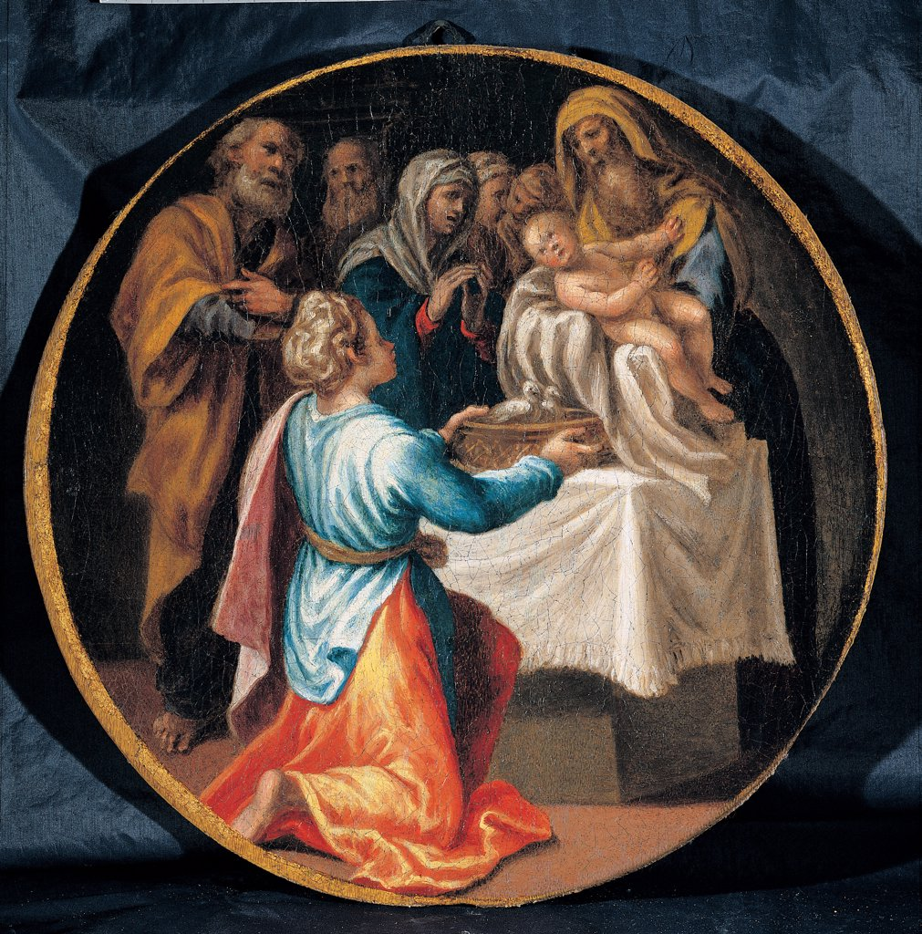Mysteries of the Rosary, by Campi Vincenzo, 16th Century, oil on canvas. Italy: Emilia Romagna: Parma: Busseto: San Bartolomeo Collegiate Church. Whole artwork. Tondo Presentation at the Temple Holy Family high priest Child Jesus/Baby Jesus/Christ Child : Stock Photo