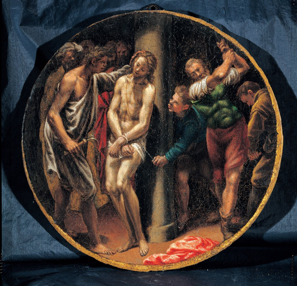 Mysteries of the Rosary, by Campi Vincenzo, 16th Century, oil on canvas. Italy: Emilia Romagna: Parma: Busseto: San Bartolomeo Collegiate Church. Whole artwork. Tondo Flagellation of Christ Jesus Christ column torture sharp points men scourging : Stock Photo