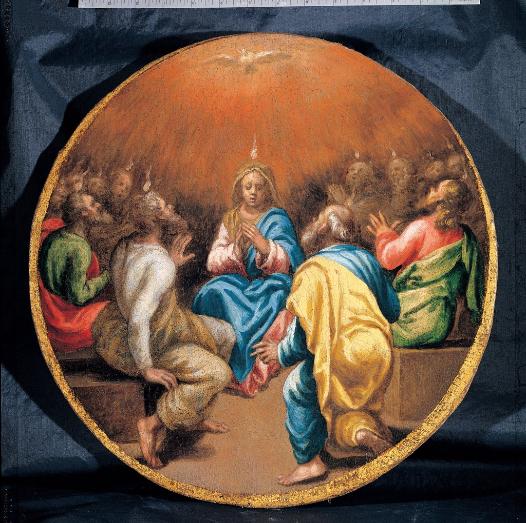 Stock Photo: 1899-45283 Mysteries of the Rosary, by Campi Vincenzo, 16th Century, oil on canvas. Italy: Emilia Romagna: Parma: Busseto: San Bartolomeo Collegiate Church. Whole artwork. Tondo Descent of the Holy Spirit/Holy Ghost Apostles dove yellow light blue/azure red