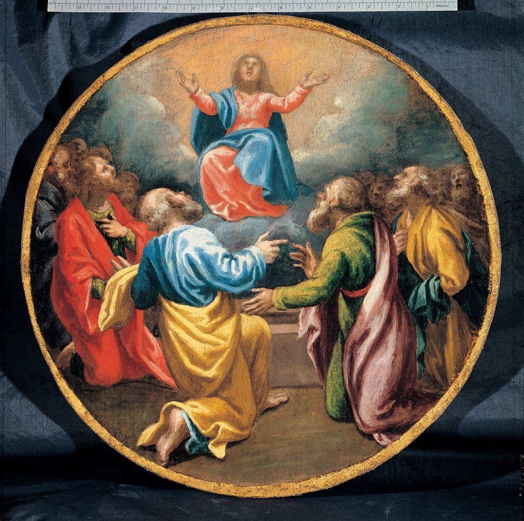 Stock Photo: 1899-45284 Mysteries of the Rosary, by Campi Vincenzo, 16th Century, oil on canvas. Italy: Emilia Romagna: Parma: Busseto: San Bartolomeo Collegiate Church. Whole artwork. Tondo Assumption of the Virgin Mary Madonna Apostles yellow light blue/azure red