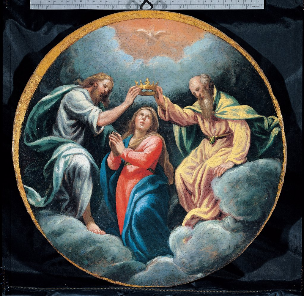 Stock Photo: 1899-45285 Mysteries of the Rosary, by Campi Vincenzo, 16th Century, oil on canvas. Italy: Emilia Romagna: Parma: Busseto: San Bartolomeo Collegiate Church. Whole artwork. Tondo Coronation of the Virgin Mary Jesus Christ God dove Holy Spirit/Holy Ghost crown cloud yellow light blue/azure red