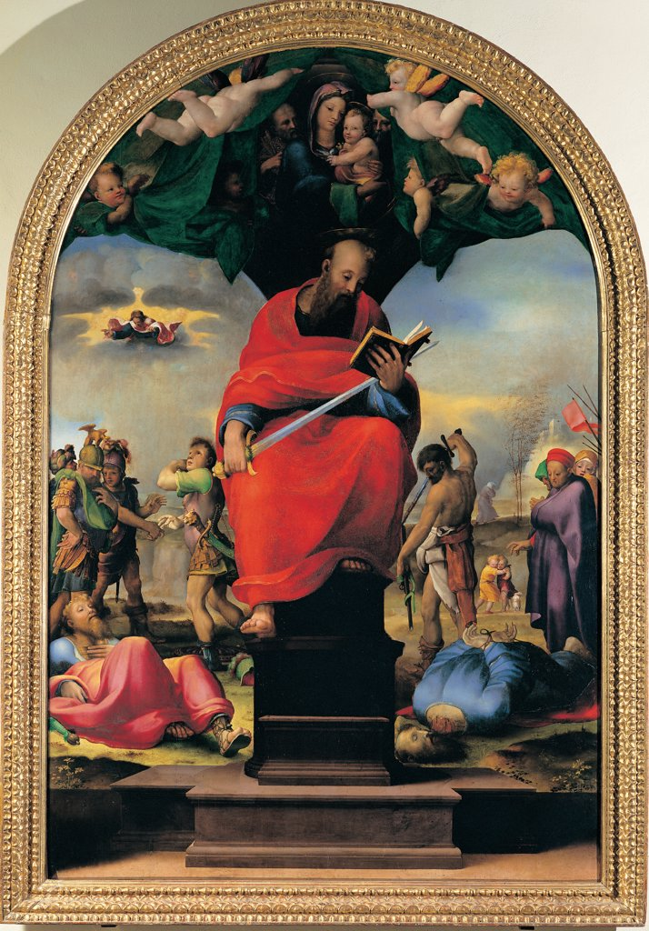 Stock Photo: 1899-45297 St Paul, by Domenico di Giacomo di Pace known as Beccafumi Domenico, 1516, 16th Century, tempera and oil on canvas. Italy: Tuscany: Siena: Opera del Duomo Museum. Whole artwork. Saint St Paul throne book sword angels sky light red blue green pink