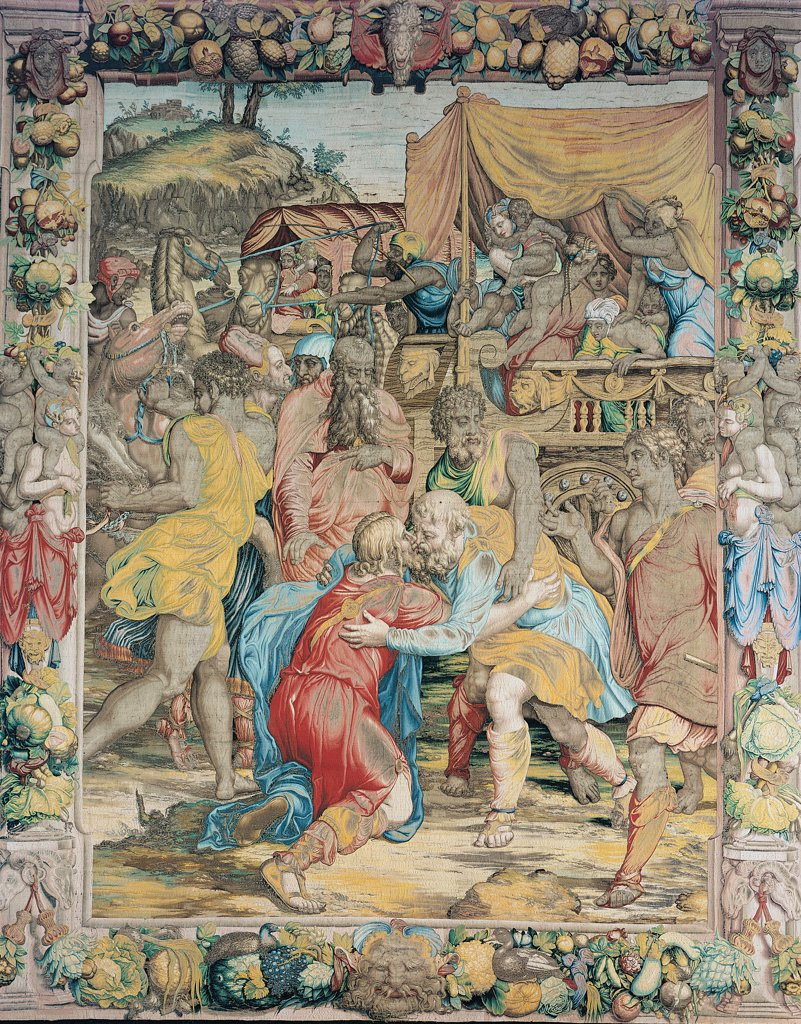 Stories of Joseph of Joseph meets His Father, by Carcher Nicola, model Allori Angelo (Agnolo) Bronzino, 1549 - 1553, 16th Century, . Italy. Tuscany. Florence. Palazzo Vecchio. Stories of Joseph of Joseph meets his father Tissue/fabric/material from the Medici tapestry works Whole artwork. red dress/clothes light blue/azure cloak/mantle garlands : Stock Photo