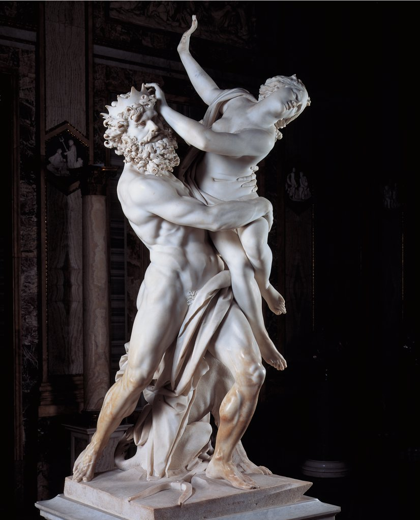Stock Photo: 1899-45317 The Rape of Prosperpina, by Bernini Gian Lorenzo, 1621 - 1622, 17th Century, marble, full relief. Italy: Lazio: Rome: Borghese Gallery. Whole artwork. Pluto, God of the Underworld rape goddess nude woman Proserpina weeping despair