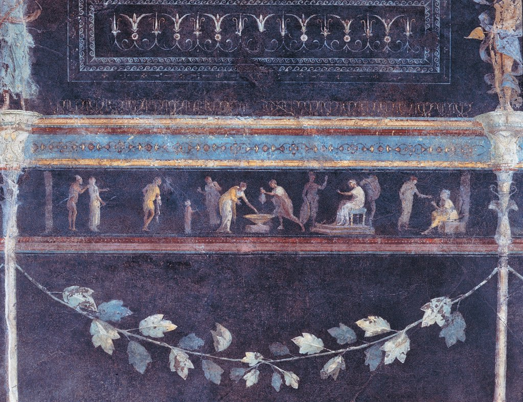 Frieze depicting a scene of judgment, by Unknown artist, 25,1st Century, mural. Italy: Lazio: Rome: Palazzo Massimo alle Terme: Triclinio C parete sinistra settimo riquadro. Detail. Frieze depicting a scene of judgment garland leaf light blue/azure green vine/grapevine grotesques : Stock Photo