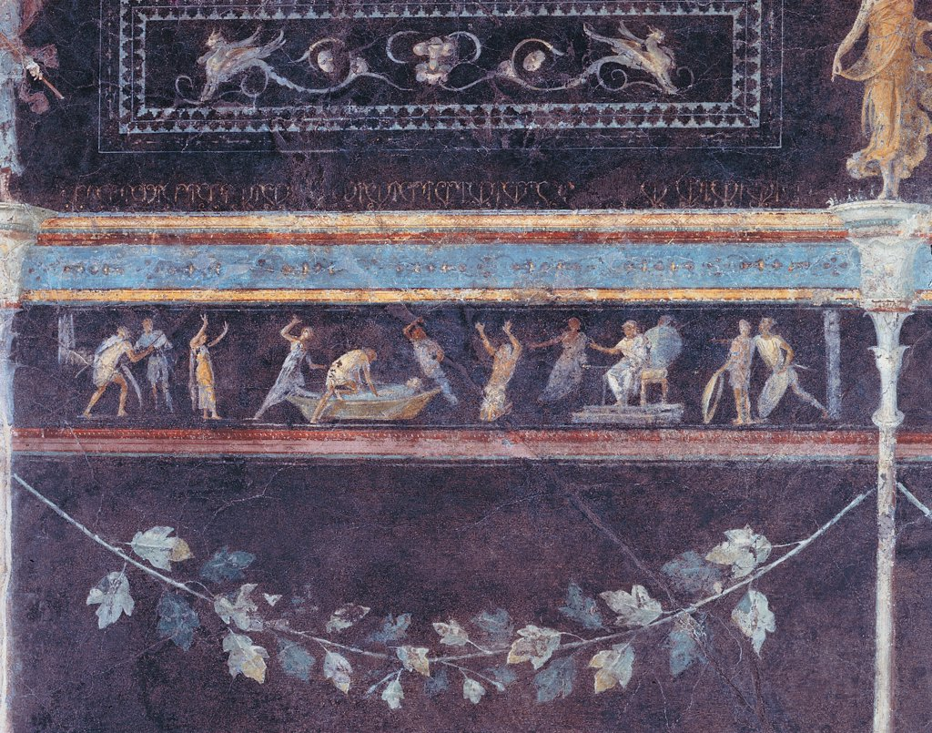 Stock Photo: 1899-45441 Frieze depicting a scene of judgment, by Unknown artist, 25,1st Century, mural. Italy: Lazio: Rome: Palazzo Massimo alle Terme: Triclinio C parete sinistra ottavo riquadro. Detail. Frieze depicting a scene of judgment garland leaf light blue/azure green vine/grapevine grotesques