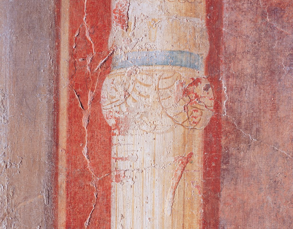 Column of the entrance staircase, by Unknown artist, 25,1st Century, mural. Italy: Lazio: Rome: Palazzo Massimo alle Terme: Cubicolo B parete di fondo dell'alcova. Detail of the swelling. Column of the entrance staircase red Farnesina Cubiculum B : Stock Photo