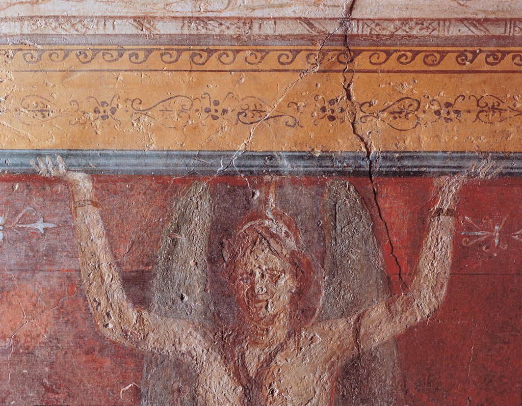 Cubiculum B of back wall of the alcove, by Unknown artist, 25,1st Century, mural. Italy: Lazio: Rome: Palazzo Massimo alle Terme: Cubicolo B parete di fondo dell'alcova. Mermaid sustaing a picture light blue/azure red yellow frame wings : Stock Photo