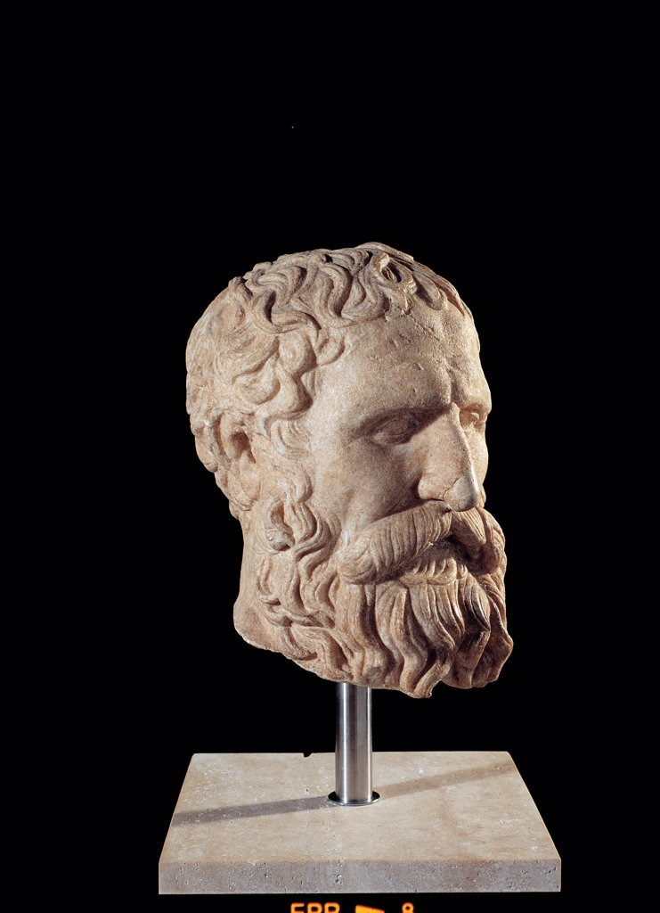 Stock Photo: 1899-45507 Philosopher Portrait (Solon?), by Unknown artist, 275 - 250,, marble. Italy: Lazio: Rome: Palazzo Massimo alle Terme: inv. 1239. Whole artwork. Left view philosopher beard moustache face head