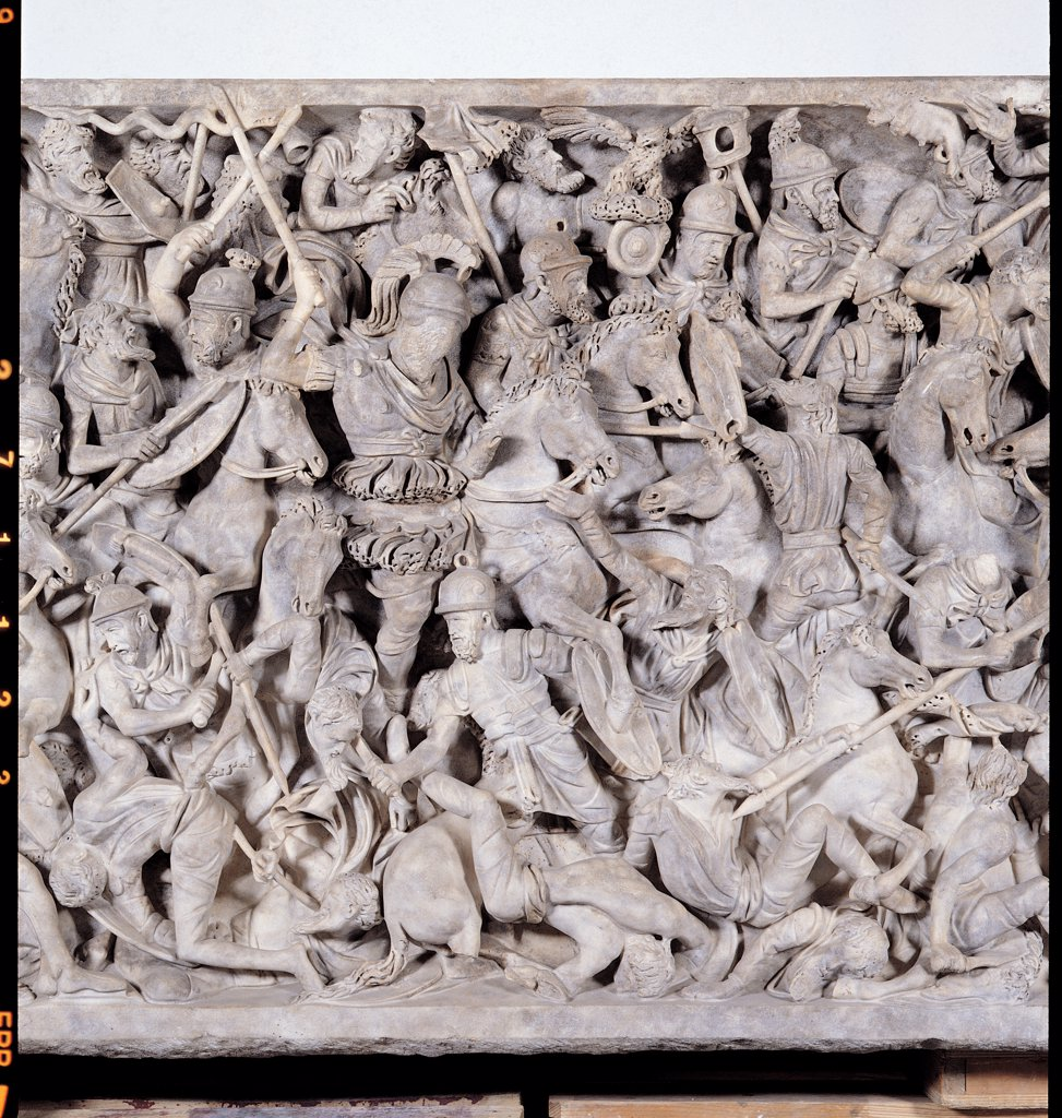 Stock Photo: 1899-45510 Portonaccio Sarcophagus, by Unknown artist, 180 - 190, 2nd Century, medium grain white marble. Italy: Lazio: Rome: Palazzo Massimo alle Terme: Sala XII - inv. 112327. Detail. Portonaccio Sarcophagus front battle figures prisoner woman soldiers lances/spears shields