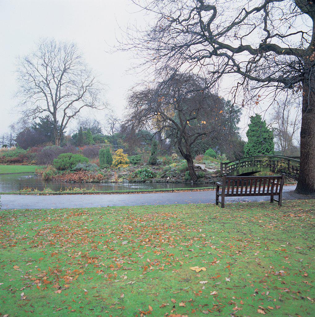 Stock Photo: 1899-45564 Regent's Park, by Nash John, 19th Century, . United Kingdom: England: London: London: Regent's Park. Regent's Park detail park path bench lawn grass bushes bare trees