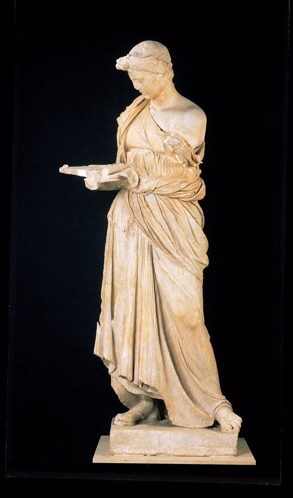 The Maiden of Antium, by Unknown artist, 2nd Century, Greek white marble. Italy: Lazio: Rome: Palazzo Massimo alle Terme. Whole artwork. Women young girl figure dress/clothes full length figure : Stock Photo