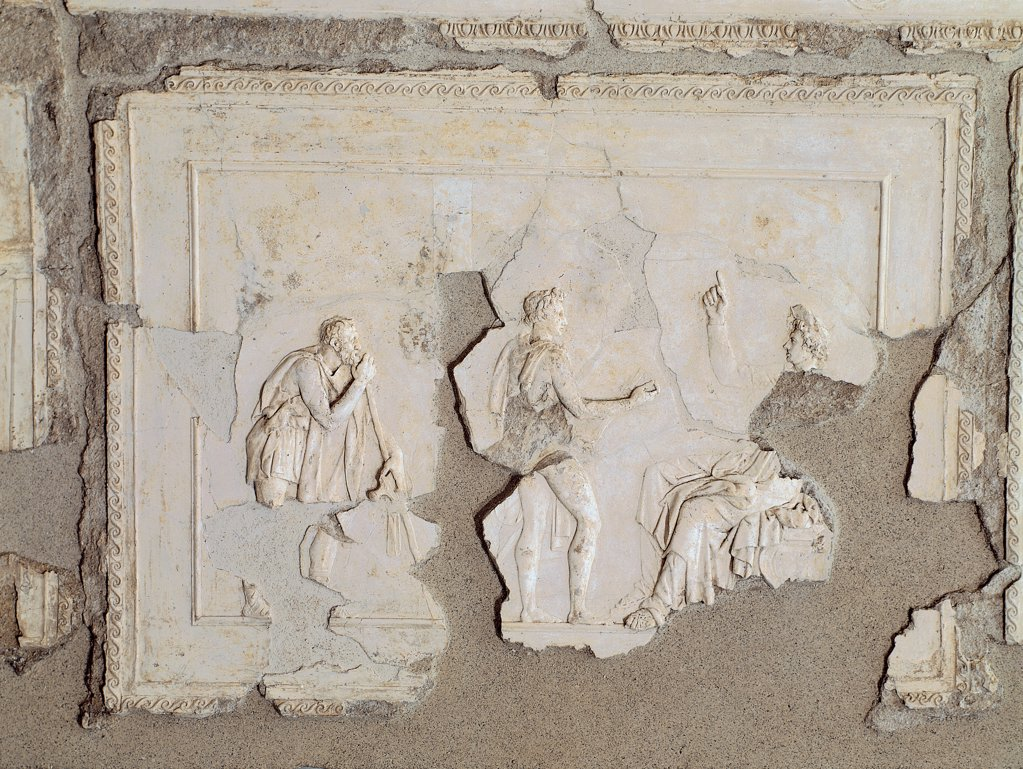 Stock Photo: 1899-45628 Panel with Apollo, Phaeton and the old pedagogue disguised as wayfarer, by Unknown artist, 25,1st Century, stucco. Italy: Lazio: Rome: Palazzo Massimo alle Terme: volta del cubicolo E. Whole artwork. Panel Phaeton Apollo old wayfarer fragmentary
