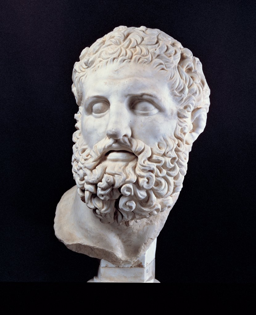 Head of Heracles, by Unknown artist, 2nd Century, marble, full relief. Italy: Lazio: Rome: Palazzo Massimo alle Terme. Hero bearded face. Total of the fragment beard face : Stock Photo