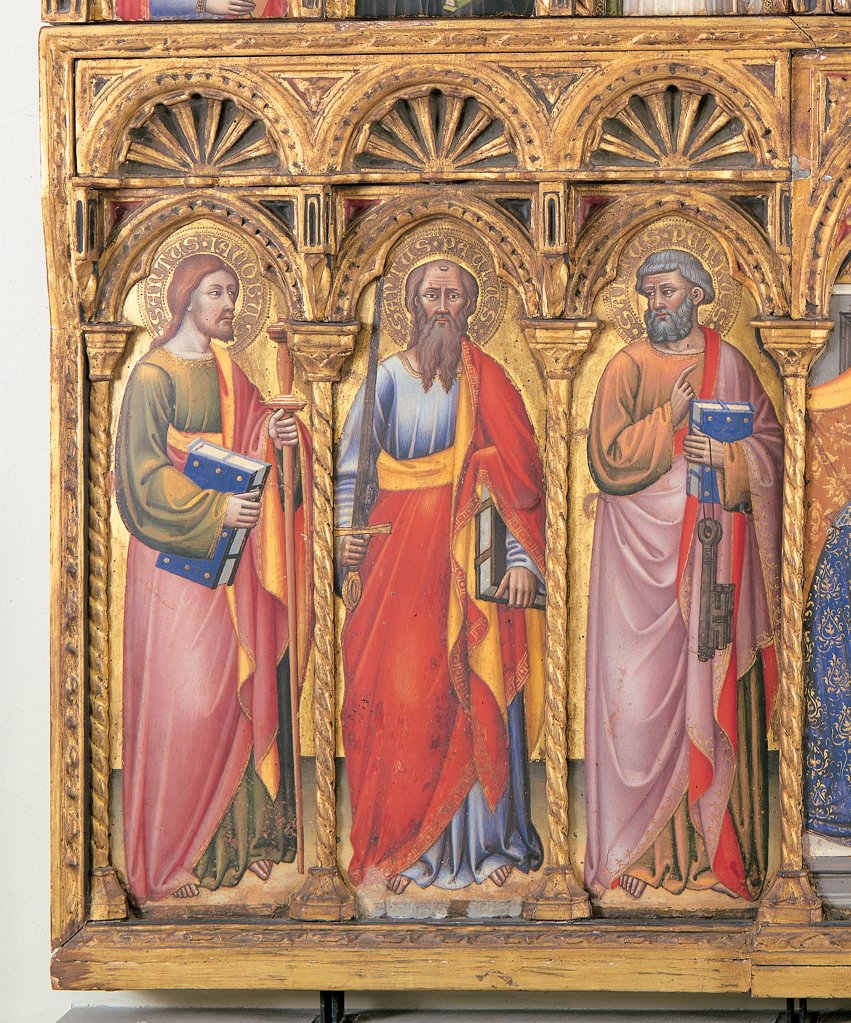 Stock Photo: 1899-45672 Polyptych, by Simone dei Crocifissi, 1385 - 1390, 14th Century, tempera on panel. Italy: Emilia Romagna: Bologna: National Gallery of Art. Detail. Three figure Saints/Sts James Paul Peter sword keys book aureole gold red yellow blue violet