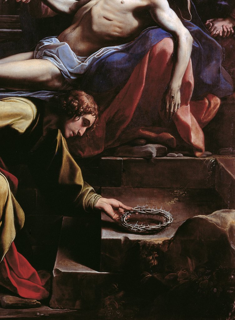 Deposition of Christ, by Tiarini Alessandro, 1617, 17th Century, oil on canvas. Italy: Emilia Romagna: Bologna: National Gallery of Art. Detail. Deposition Christ dead tomb body wound chest chiaroscuro apostle crown thorns : Stock Photo