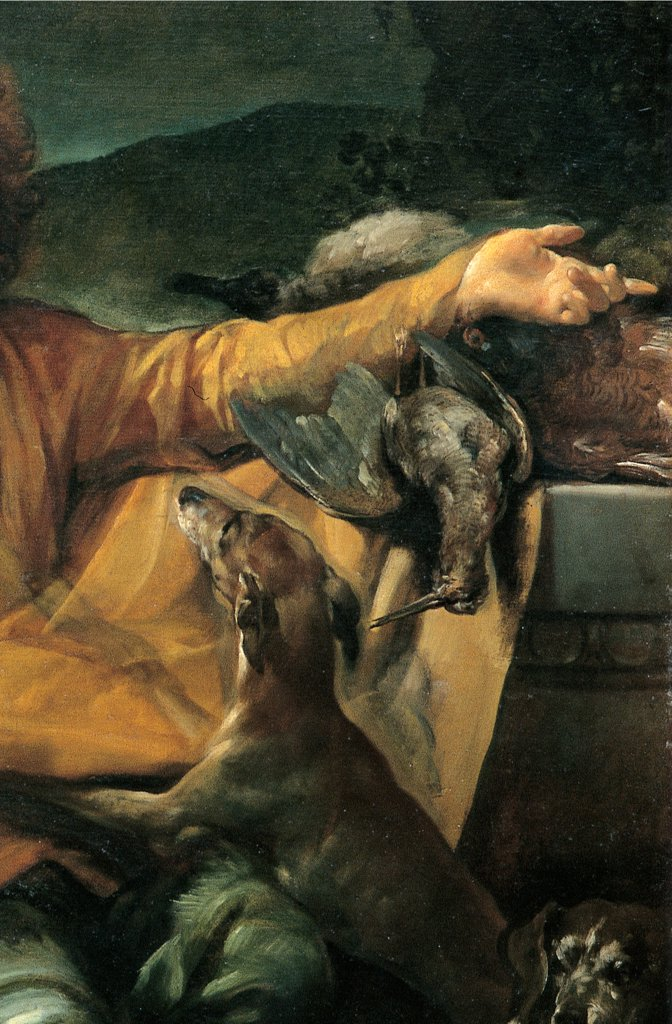 The Hunter, by Crespi Giuseppe Maria know as Spagnuolo (or Spagnolo), 1720 - 1730, 18th Century, oil on canvas. Italy: Emilia Romagna: Bologna: National Gallery of Art. Detail. Dog man game birds drapery drape jacket yellow green gray chiaroscuro light shadow : Stock Photo
