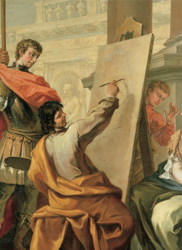 Apelles Making a Portrait of Pancaspe, by Ricci Sebastiano, 1700 - 1704, 18th Century, oil on canvas. Italy: Emilia Romagna: Parma: National Gallery of Art. Detail. Apelles painter portrait canvas brush guard armor/cuirass columns stand mantles/cloaks building red orange : Stock Photo