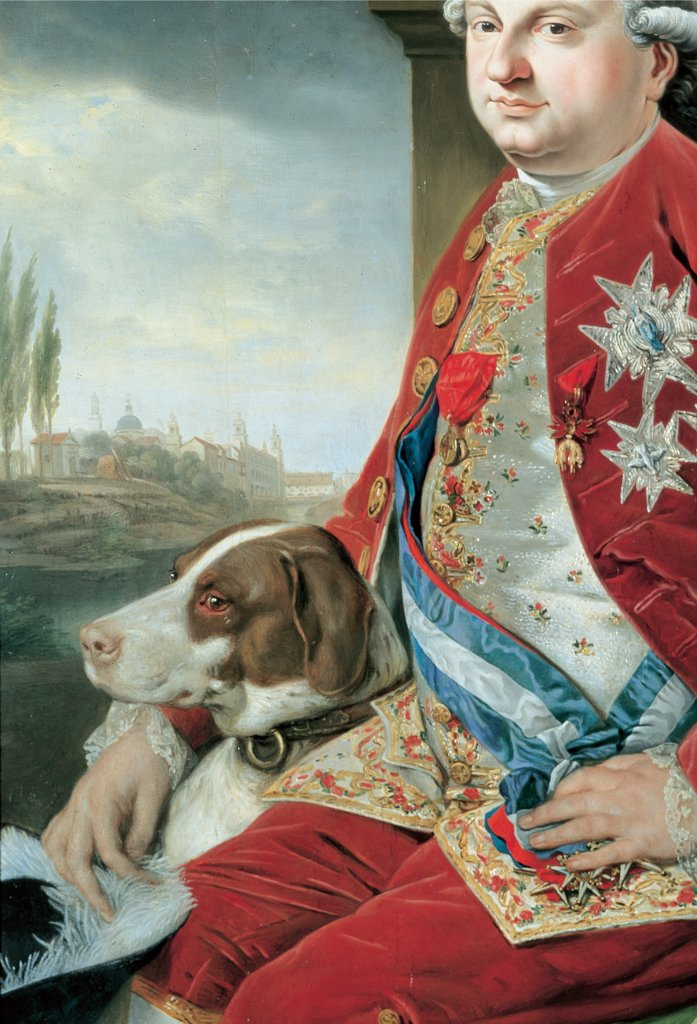 Portrait of Don Ferdinando of Bourbon, by Zoffany Johann, 1778 - 1779, 18th Century, oil on panel. Italy: Emilia Romagna: Parma: National Gallery of Art. Whole artwork. Portrait man Ferdinand de Bourbon Duke official red dress velvet tailcoat silver waistcoat dog view landscape : Stock Photo