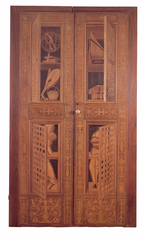 Stock Photo: 1899-45738 Door with mathematical and musical instruments, books and portions of armour (Audience Chamber), by Florence Inlayers, 1474, 15th Century, inlaid woods. Italy: Marche: Pesaro Urbino: Urbino: Galleria Nazionale delle Marche. Whole artwork. Door panels inlay grotesques decorations wood imitation-jambs instruments astrolabe mandolin books armor helmet greaves