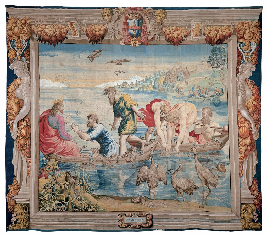 Scenes from the Acts Apostles, by Mortlake workmanship, Manifattura Lefebvre, 1630 - 1680, 17th Century, tapestries. Italy: Marche: Pesaro Urbino: Urbino: Galleria Nazionale delle Marche. Whole artwork. Miraculous catch of fish. Jesus apostles halo/aureole men boats fishers nets fish lake Tiberias shore birds small figures houses buildings trees frame wreaths/festoons garlands coat of arms/emblem caryatids : Stock Photo
