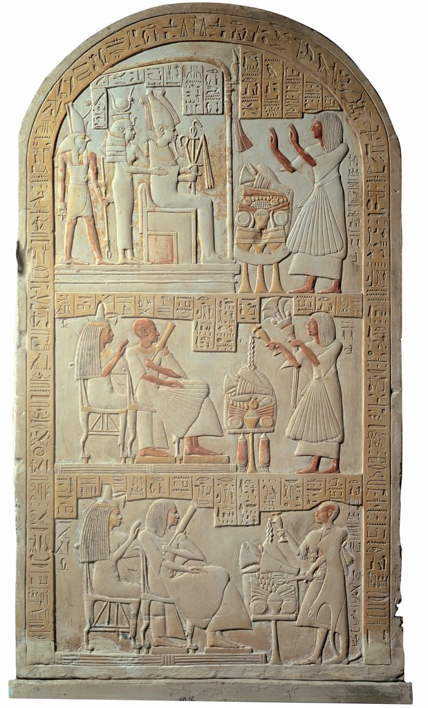 Stock Photo: 1899-45769 Funeral stele of Hui, by Unknown artist, 1295 - 1069,, bas, relief, painted limestone. Italy: Campania: Naples: National Archaeological Museum. Whole artwork. Carved arched funeral stele bas-relief deceased Egyptian man Hui Osiris throne Isis-Hathor Horus hieroglyphs