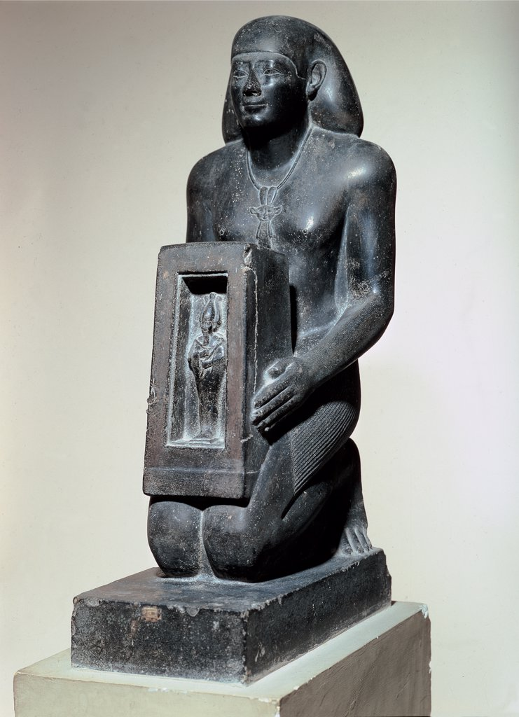 Stock Photo: 1899-45772 Farnese Naophore- statue of UAH - Ib - Ra Mary  kneeling Neith, by Unknown artist, 664 - 525,, basalt, full relief. Italy: Campania: Naples: National Archaeological Museum. Whole artwork. Statuette Egyptian man kneeling Naophore noble seal-holder priest Naos Osiris