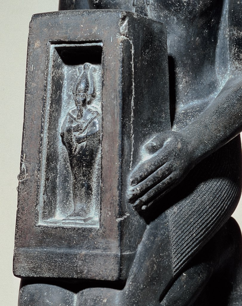 Farnese Naophore- statue of UAH - Ib - Ra Mary  kneeling Neith, by Unknown artist, 664 - 525,, basalt, full relief. Italy: Campania: Naples: National Archaeological Museum. Detail. Statuette Egyptian man noble Naophore seal-holder priest Naos Osiris : Stock Photo