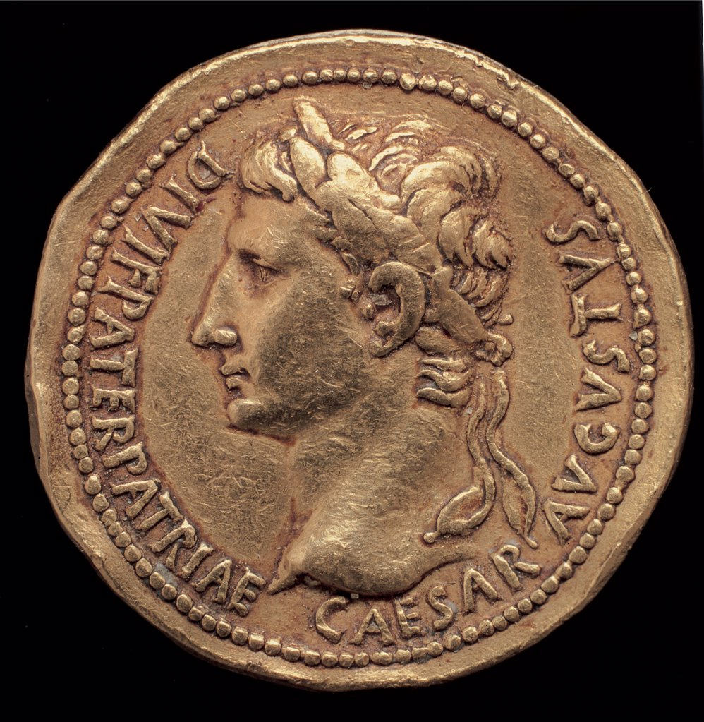 Stock Photo: 1899-45782 Aureo Augustus, by Unknown artist, 9, 1st Century, gold. Italy: Campania: Naples: National Archaeological Museum. Whole artwork. Golden coin front male portrait face profile Roman emperor Augustus inscription